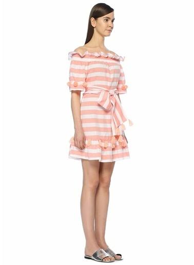 Sundress Çizgili Ponponlu Mini Elbise Mercan